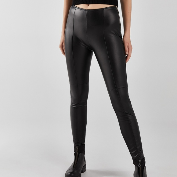 85444a926574 Bershka Pants | Leggings Black Faux Leather Skinny | Poshmark